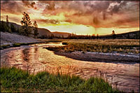 Yellowstone stream at sunrise